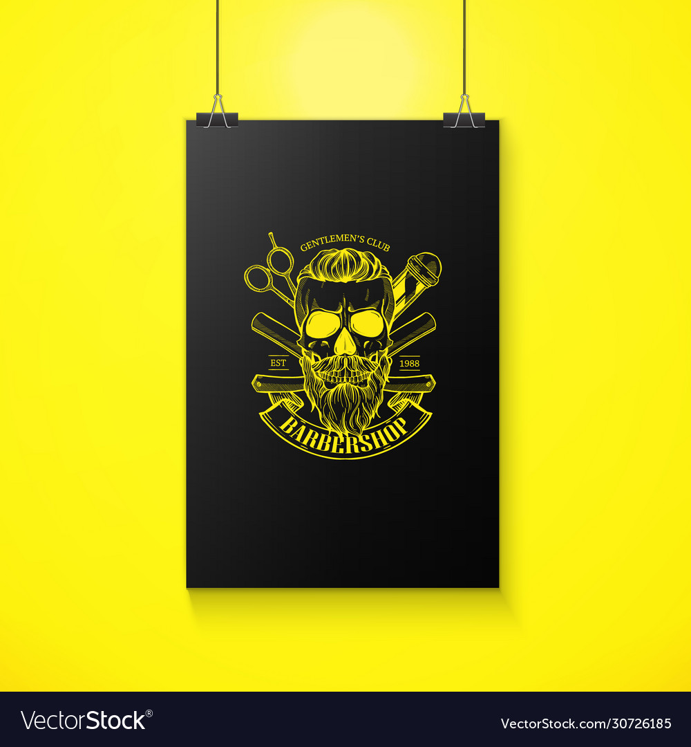 Barbershop logo angry sticker with skull