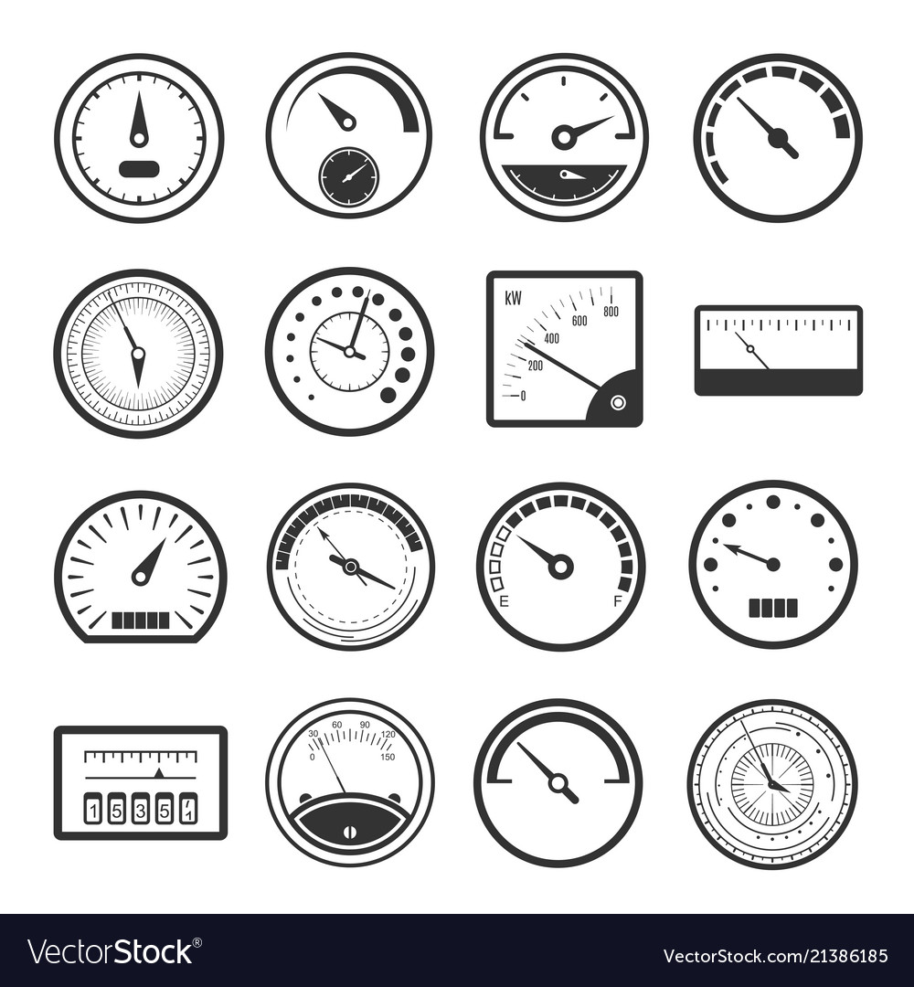 Black meter icon set