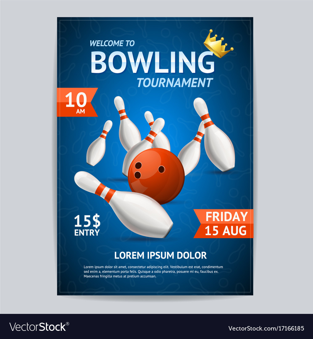 bowling tournament poster card template royalty free vector