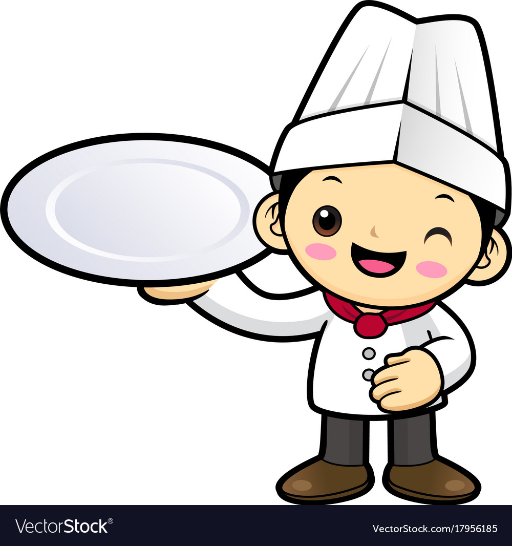 cartoon chef character holding a plate isolated vector image rh vectorstock com chef cartoon images chef cartoon maker