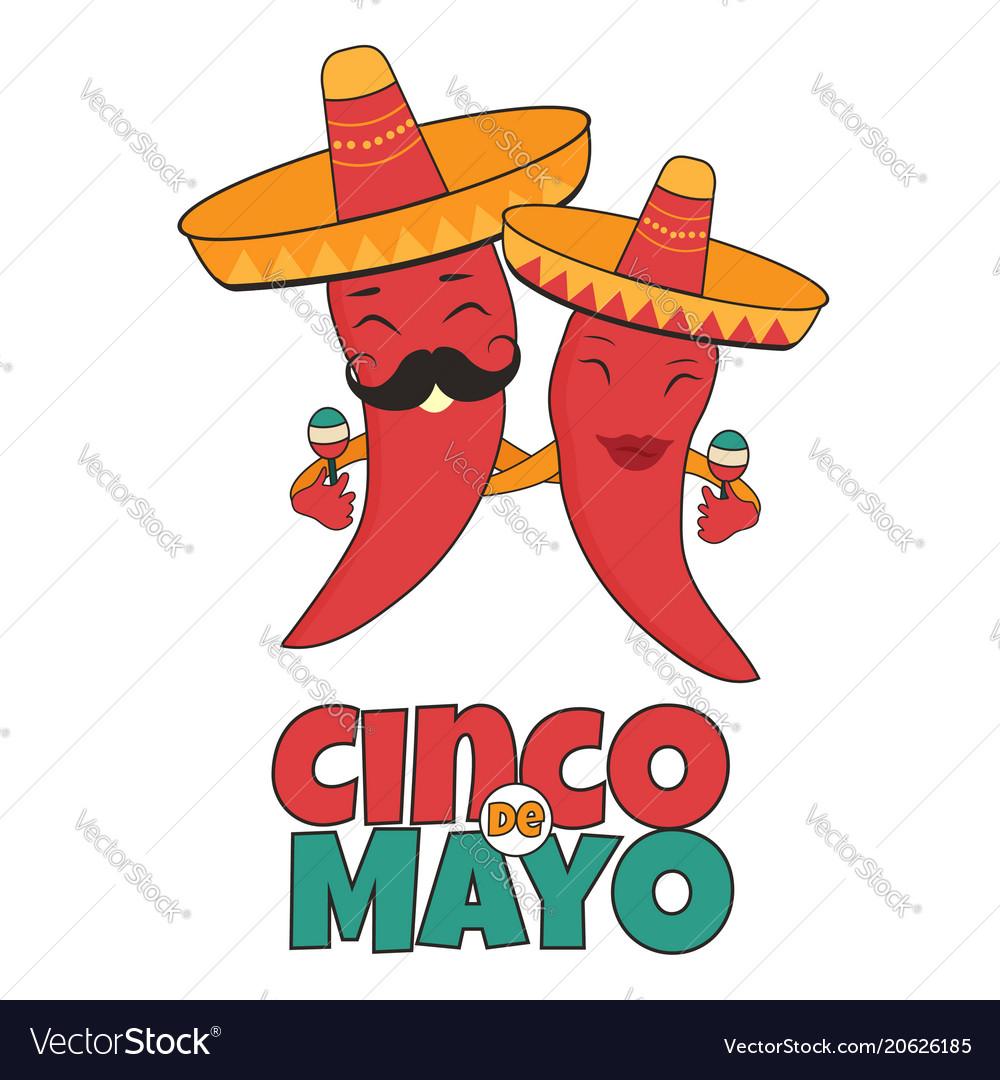 Cinco de mayo poster bright characters vector image