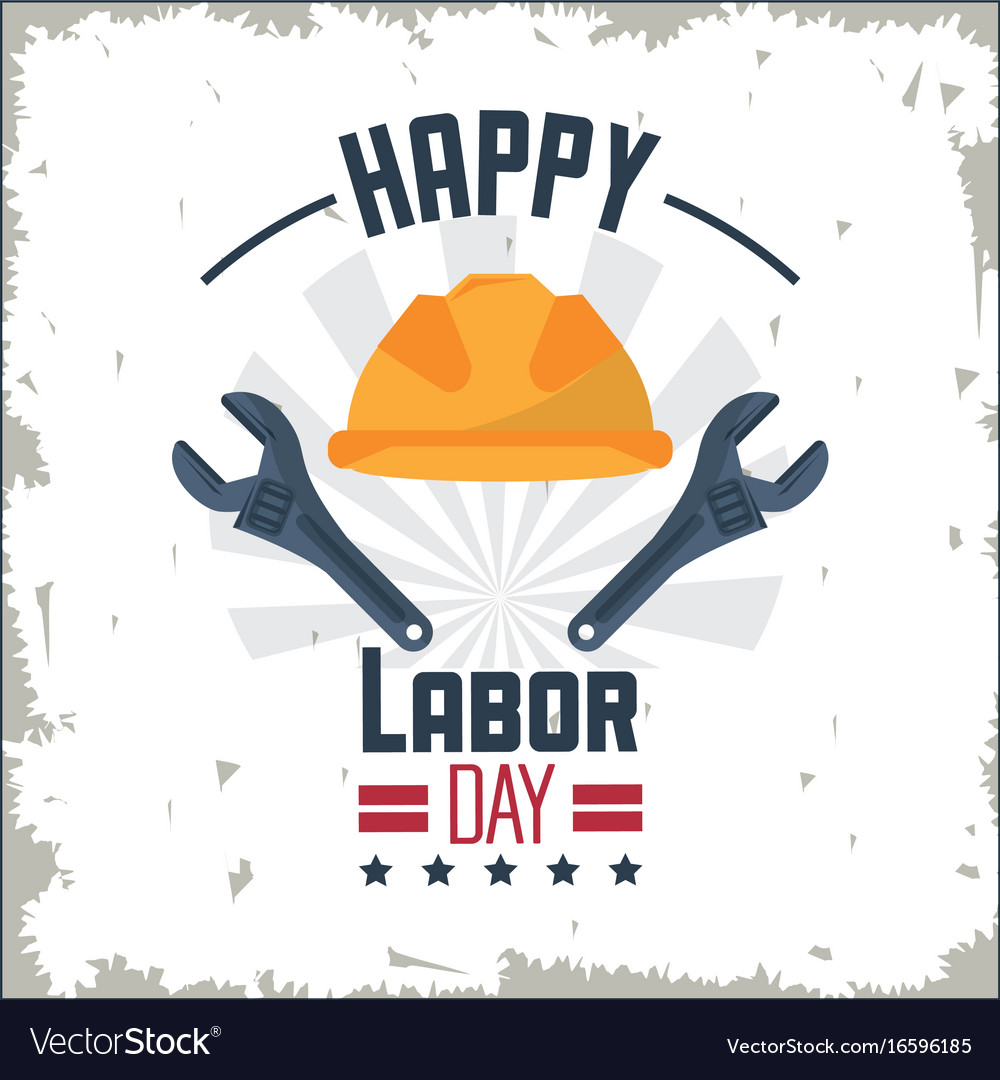 Colorful poster of happy labor day with protective vector image