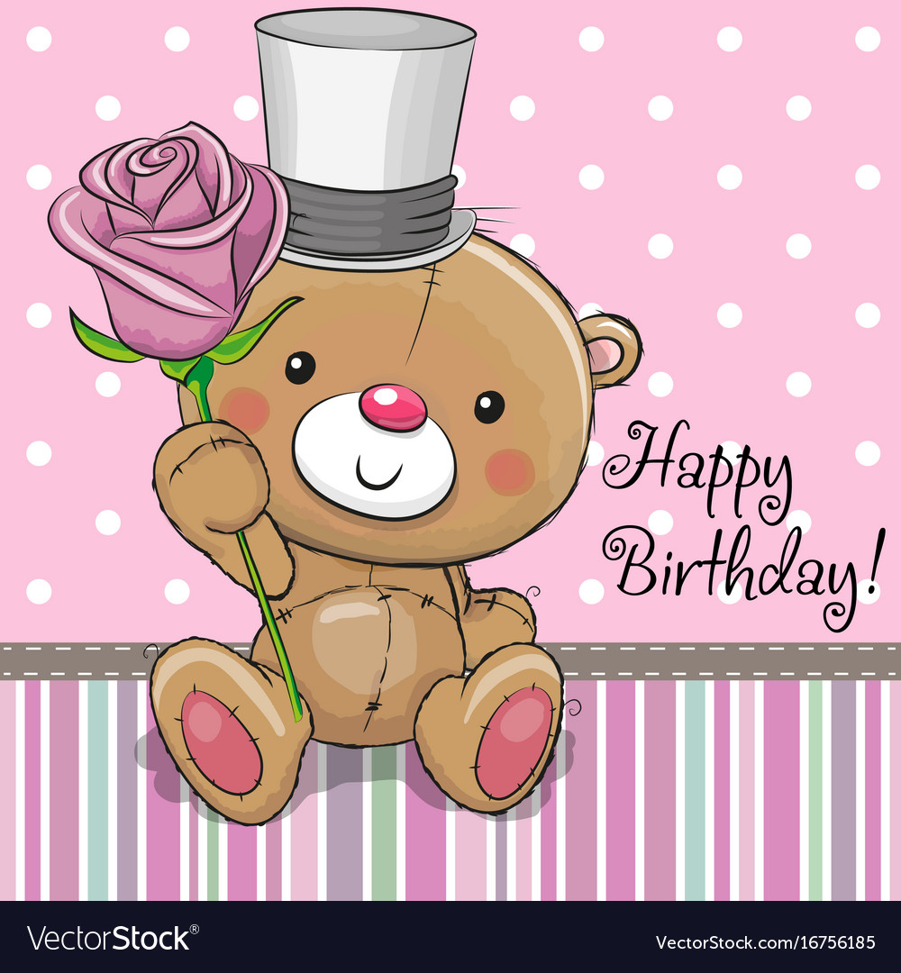 Cute Teddy Bear With A Flower Royalty Free Vector Image
