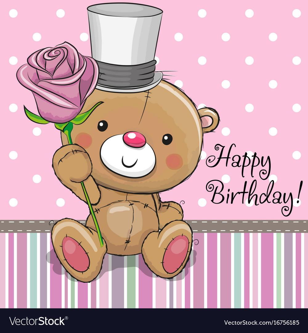 Cute teddy bear with a flower royalty free vector image cute teddy bear with a flower vector image izmirmasajfo