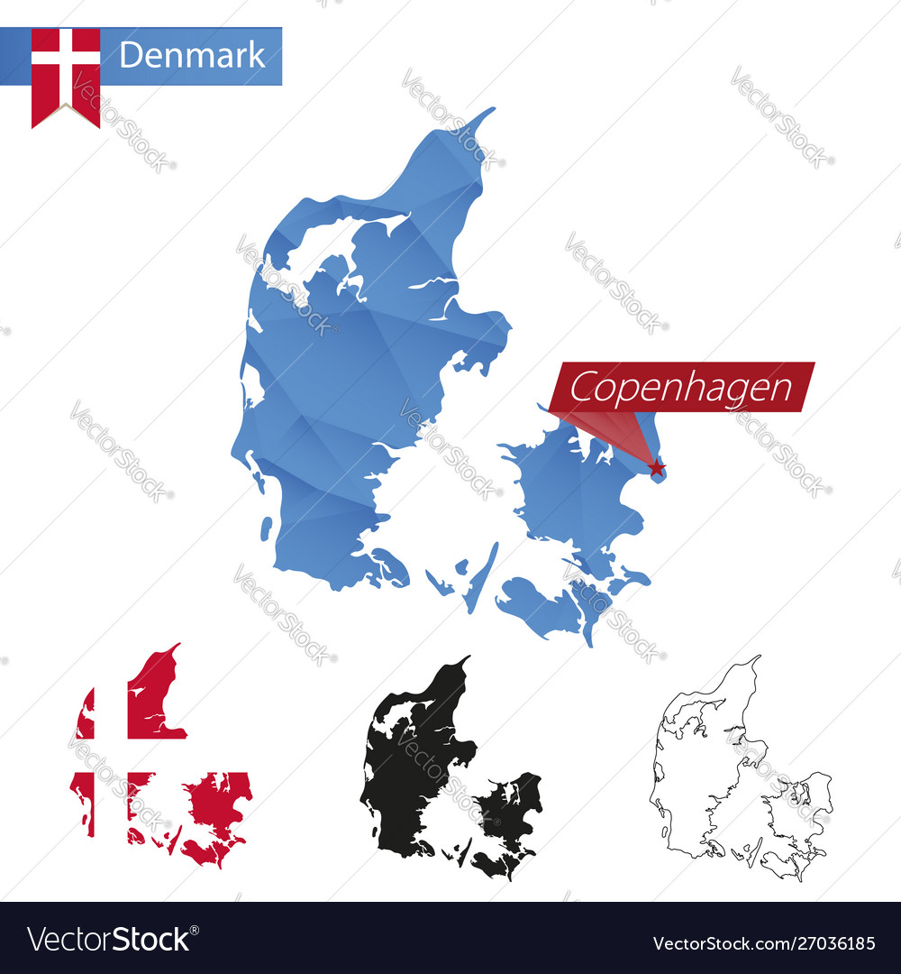 Denmark blue low poly map with capital copenhagen