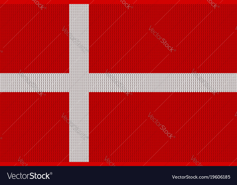 Flag of denmark on a knitted woolen texture