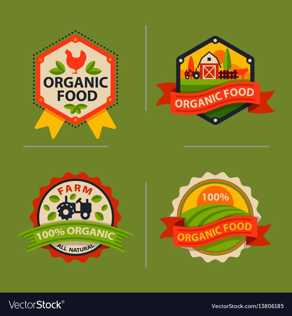 Flat style of bio organic eco healthy food label