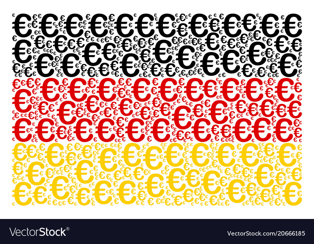 German Flag Pattern Of Euro Symbol Icons Vector Image