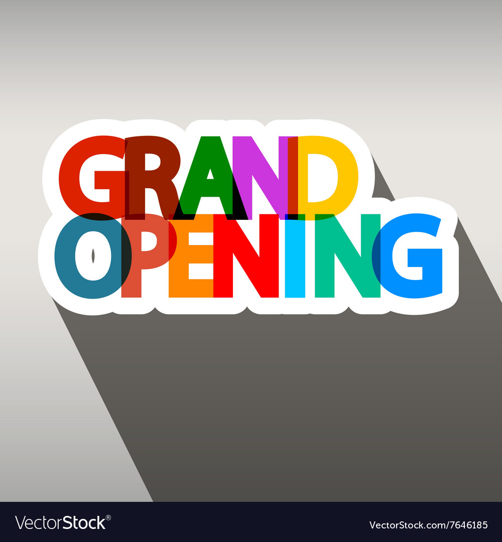 Grand Opening Colorful Paper Title vector image