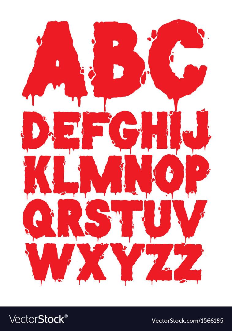 Grunge font alphabet