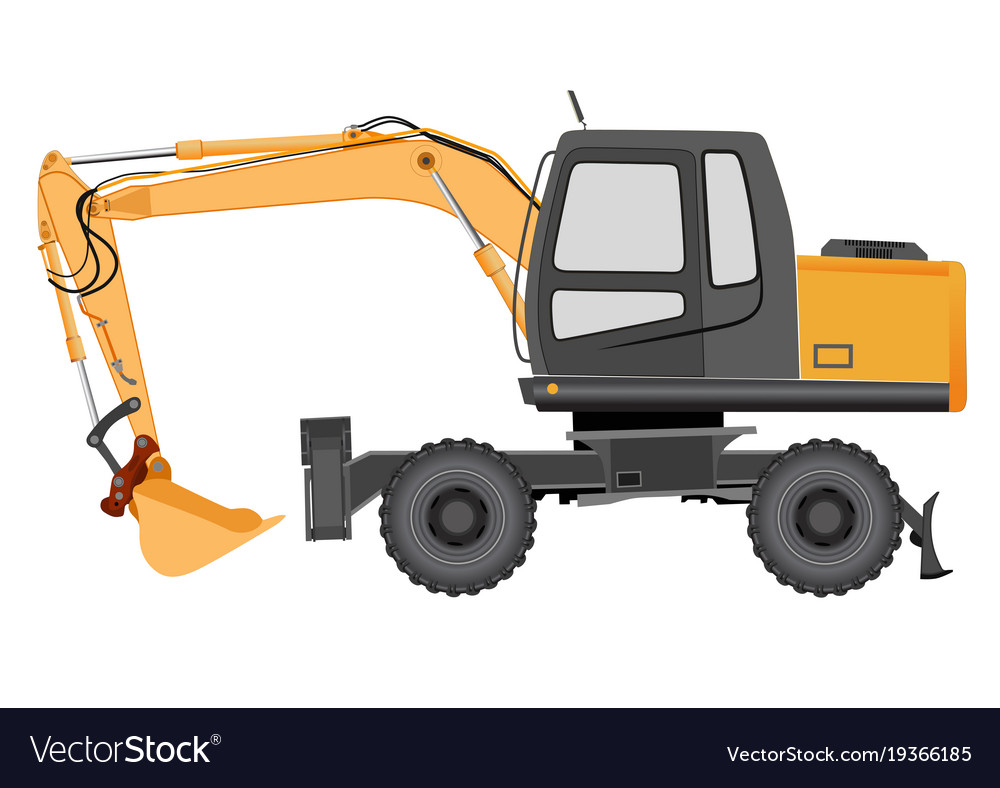 Image of a yellow excavator on a wheeled chassis