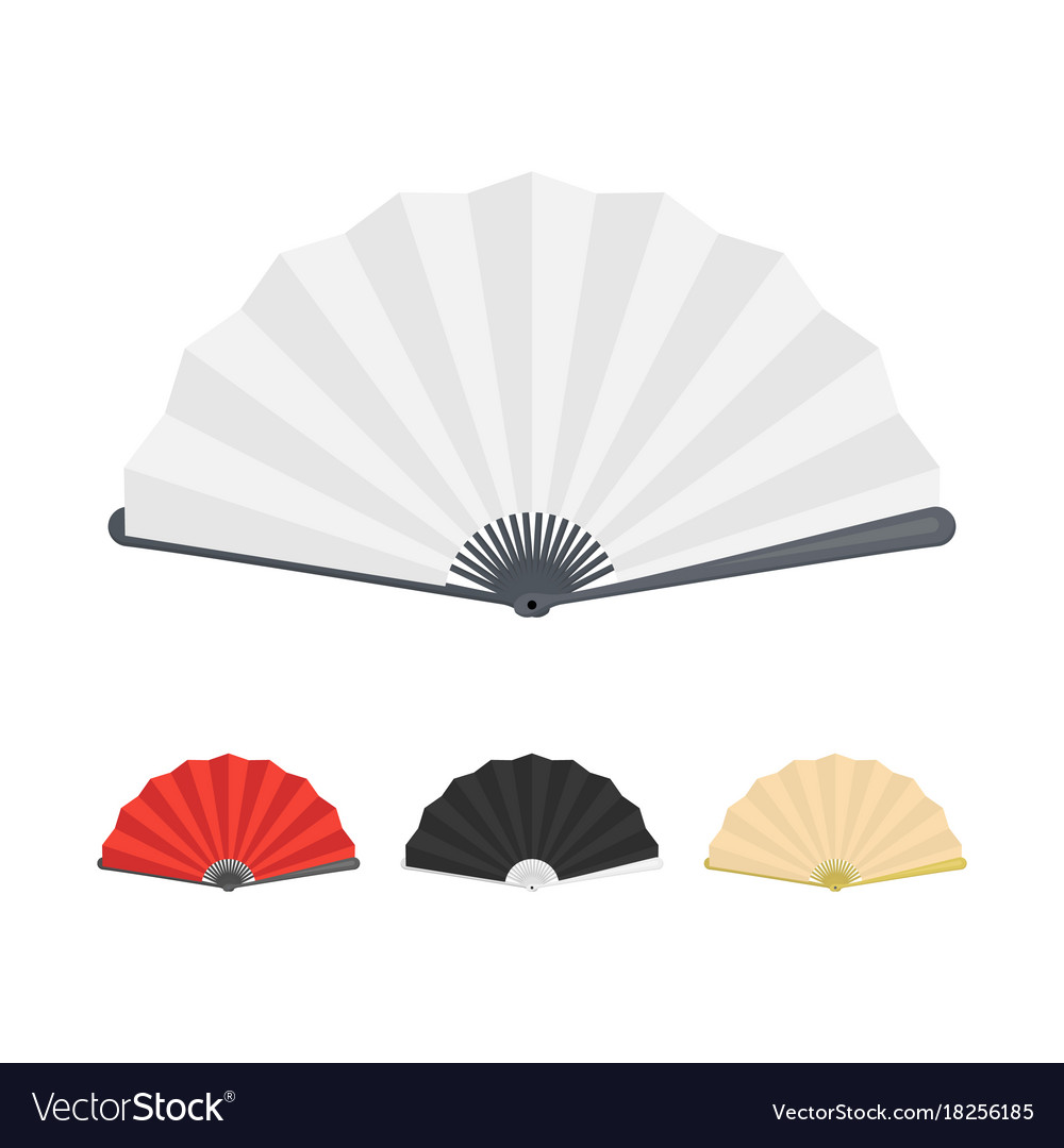 Japanese folding paper fan color set vector image