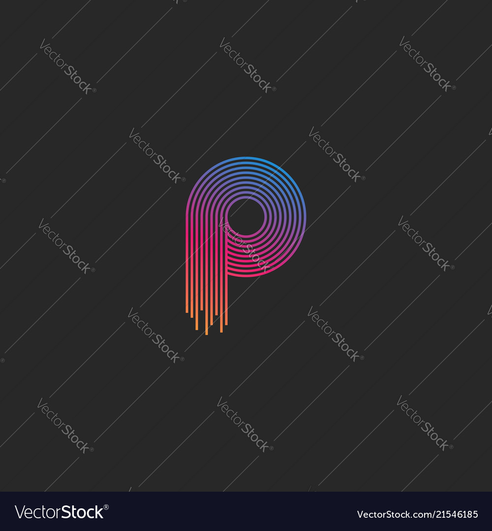 Letter p logo monogram linear trendy colorful