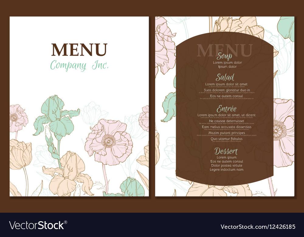 Menu template design with vintage floral