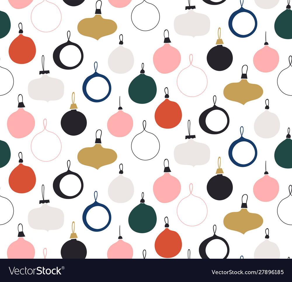 Seamless pattern with new year glass balls
