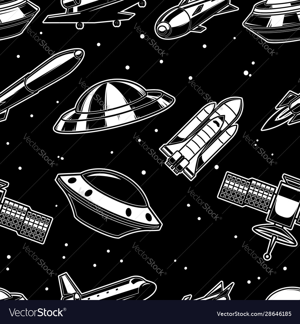 Seamless pattern with spaceship spaceman ufo