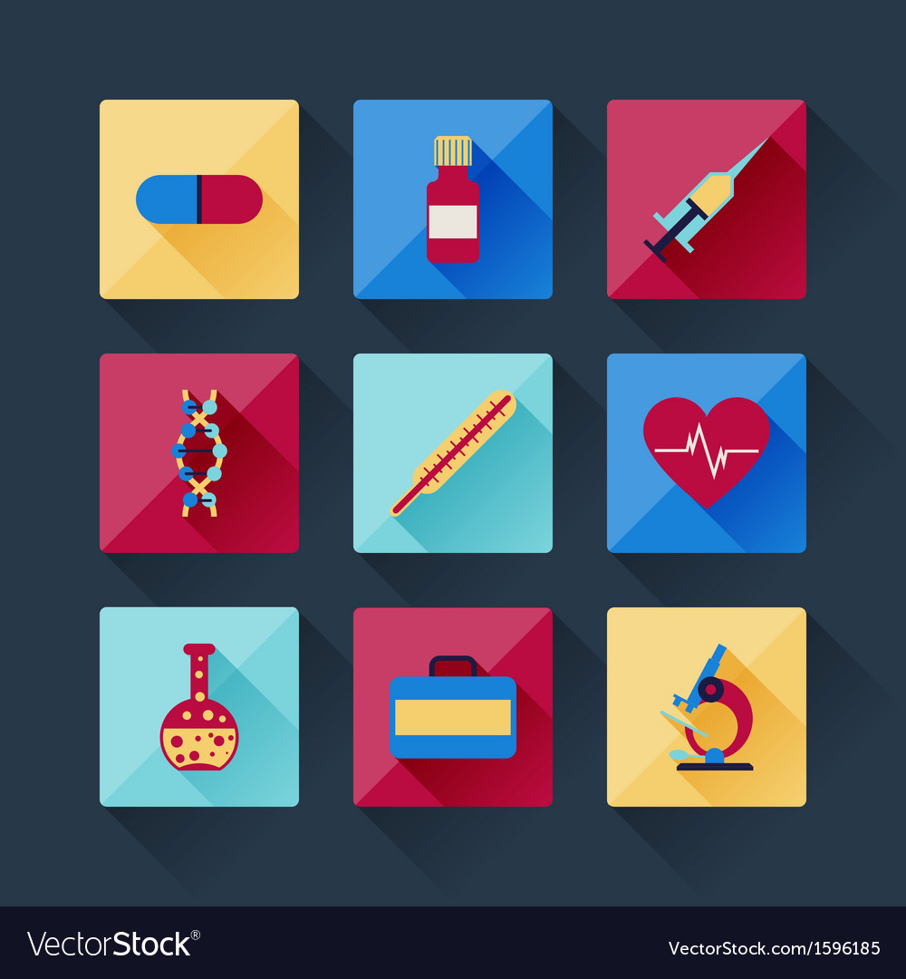 Set of medical icons in flat design style