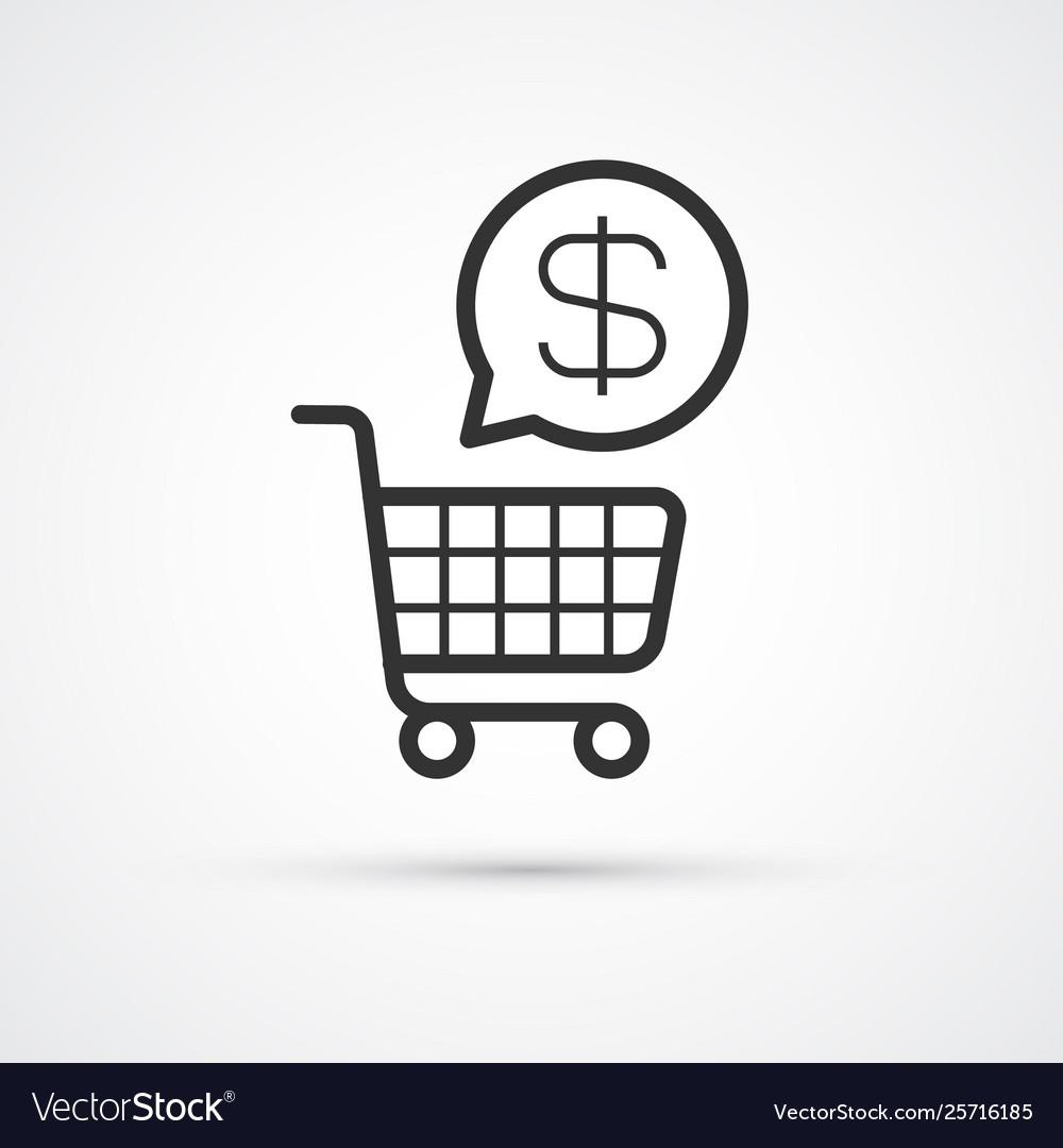Shopping cart flat line trendy black icon eps10