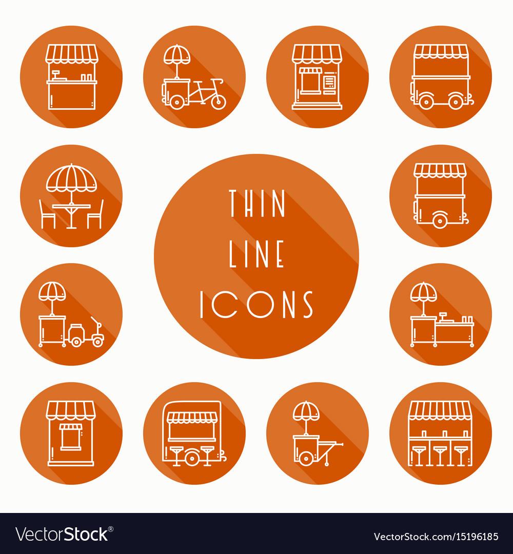 Street food retail thin line icons set food truck
