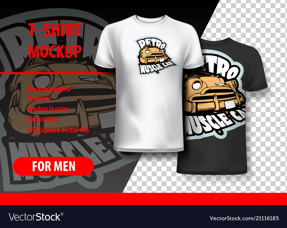 T-shirt mockup with retro muscle car phrase in