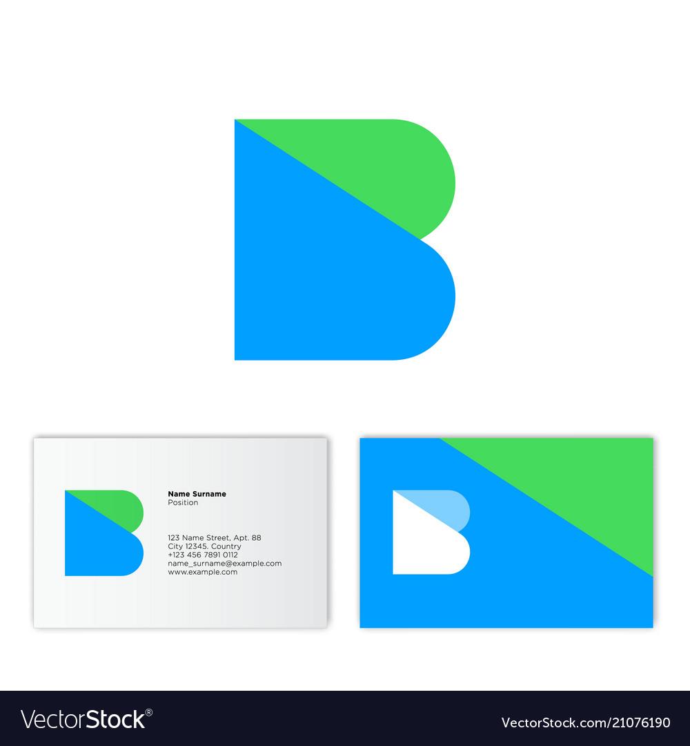 B logo flat monogram business card royalty free vector image b logo flat monogram business card vector image colourmoves
