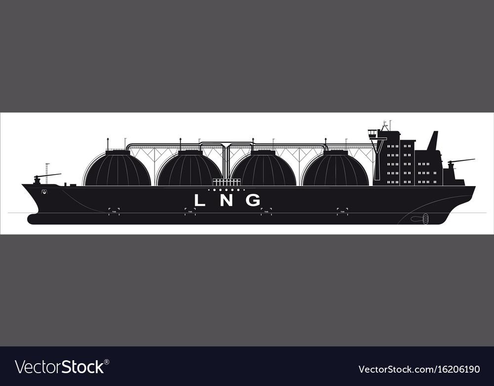 Black silhouette of a huge ocean tanker for vector image