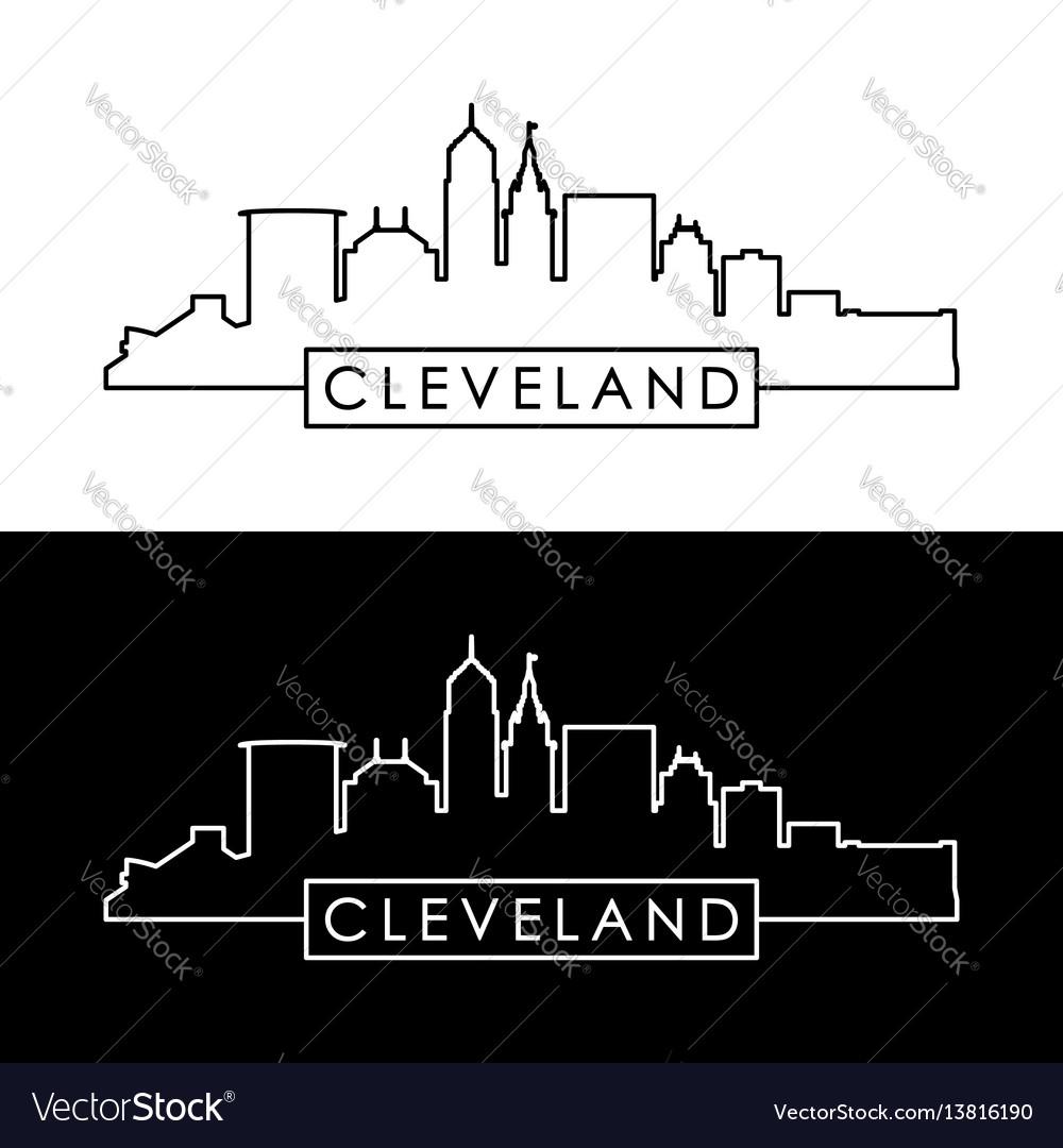 Cleveland skyline black linear style vector image