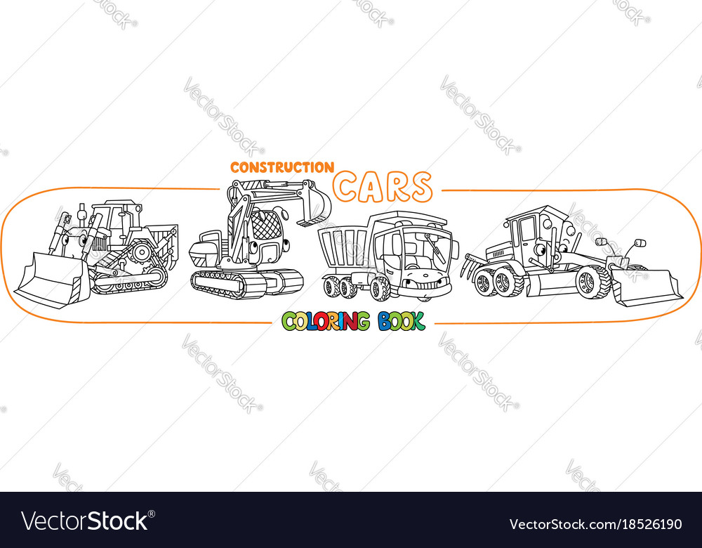 Construction machinery transport coloring book Vector Image
