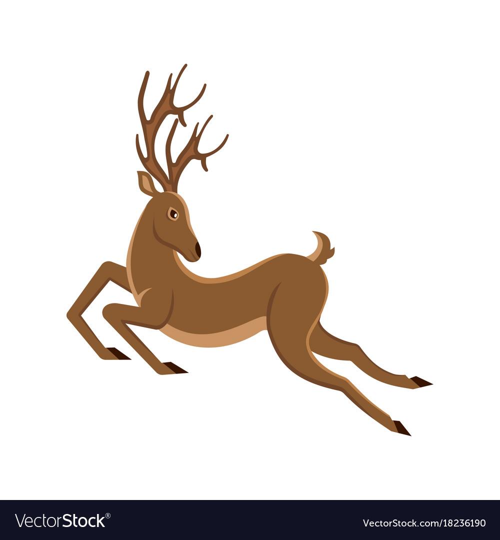 Cute deer cartoon running reindeer moving