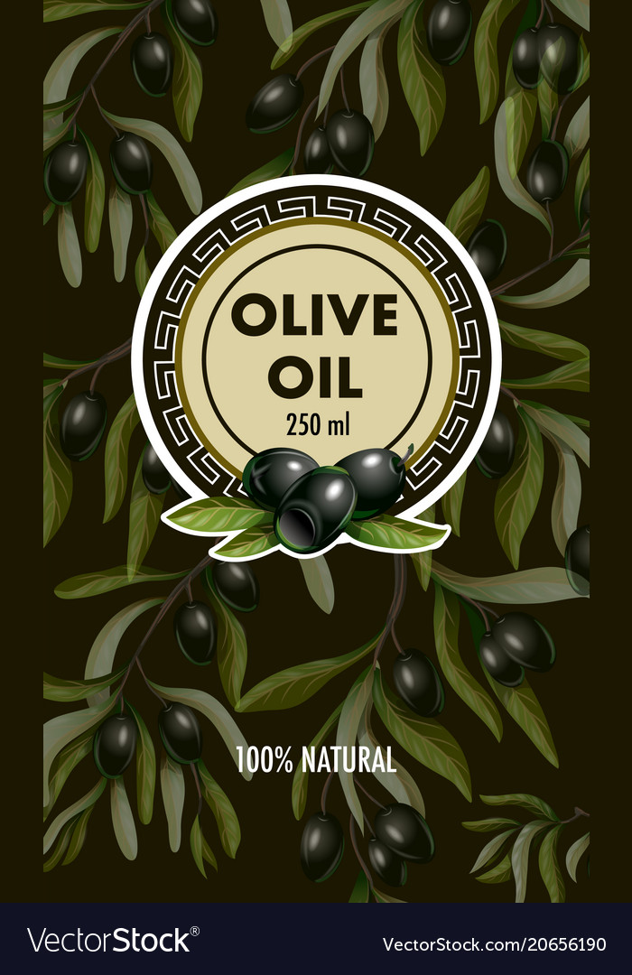 Label for olive oil with realistic olives