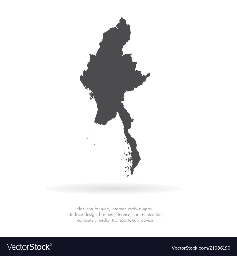 Map myanmar isolated black