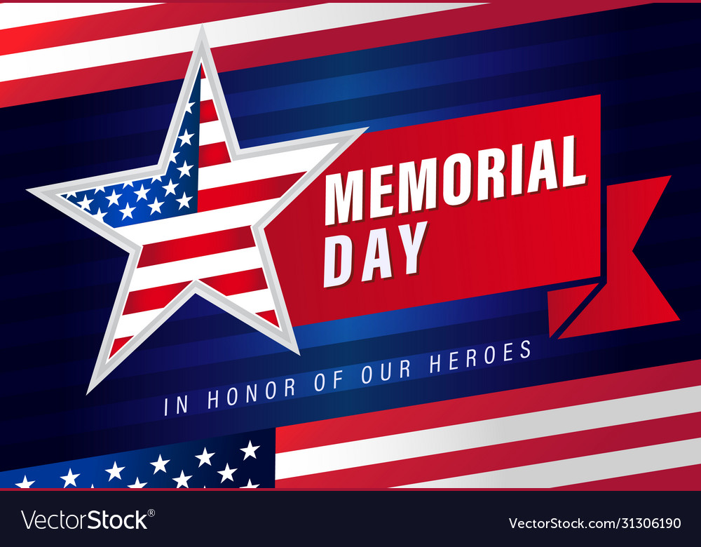 Memorial day usa star flag stripes banner