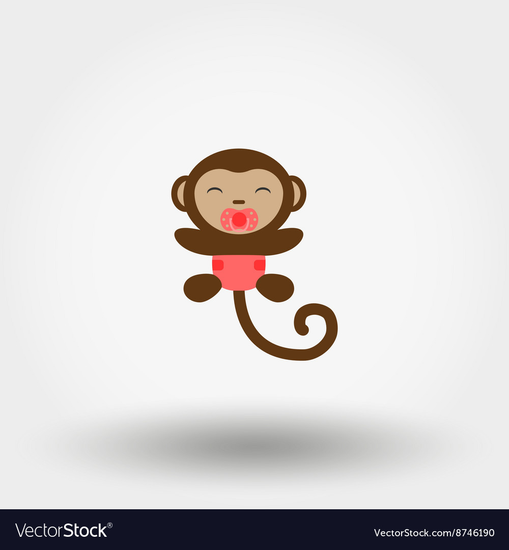 Monkey in a diaper with a pacifier Icon