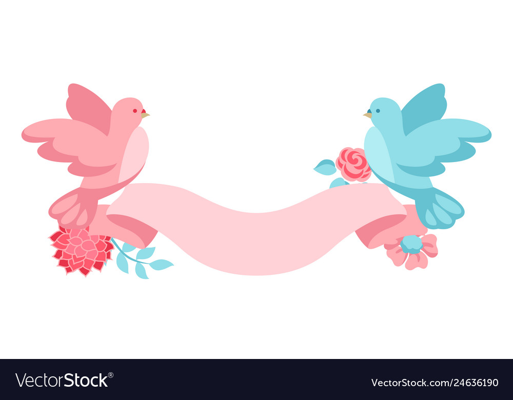 Pink and blue dove holding ribbon with flowers