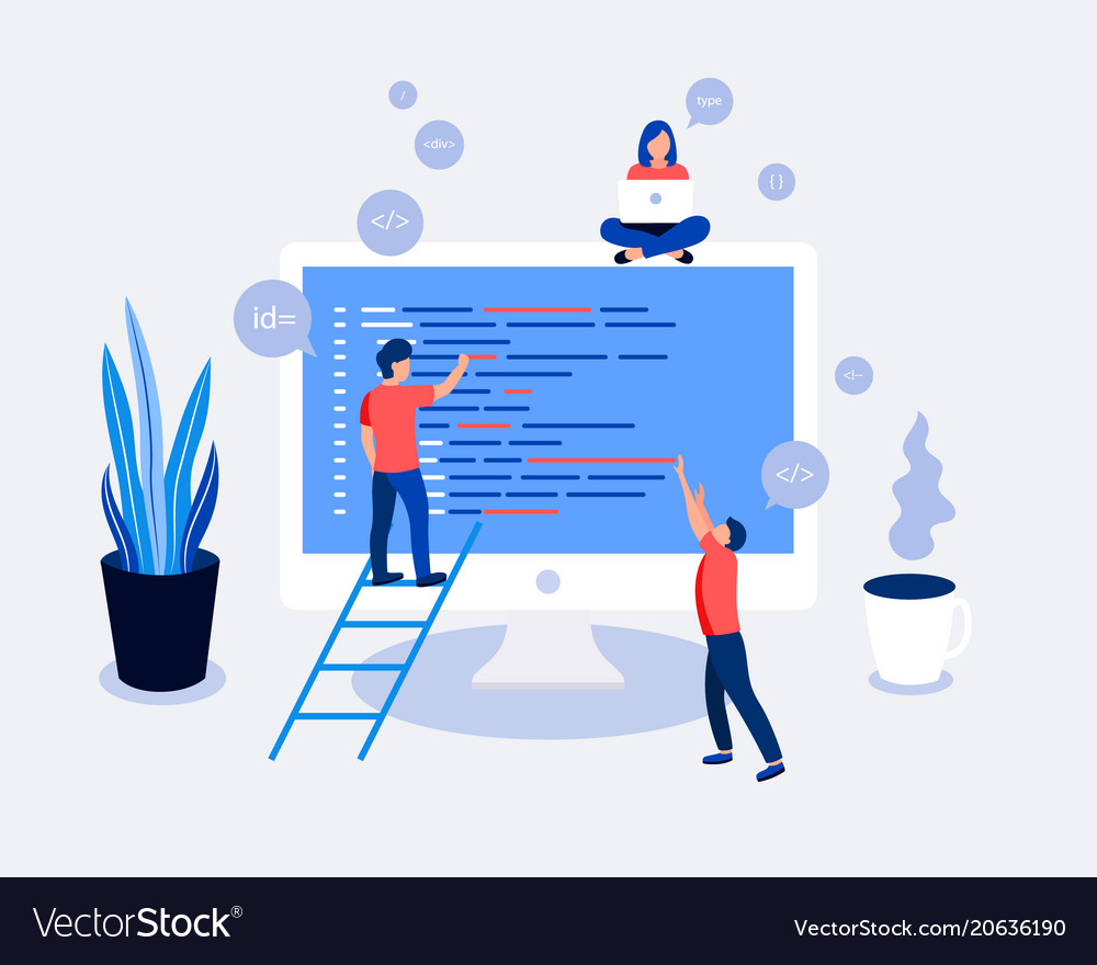 Programmers coding and correct errors in project