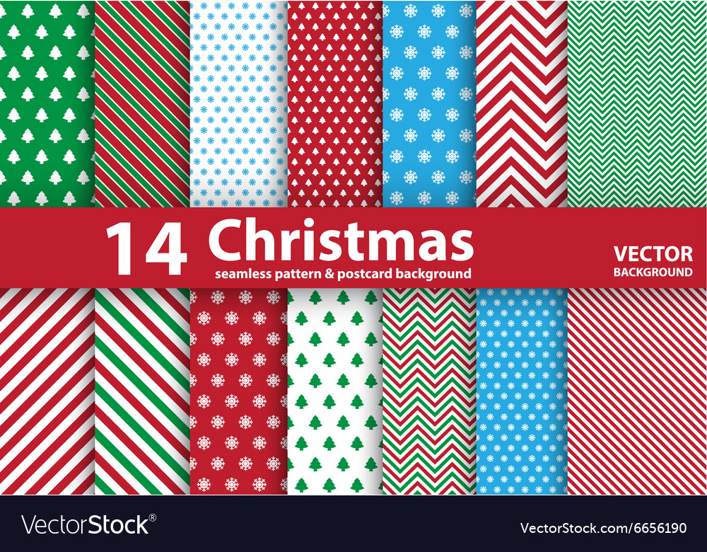Set of Christmas patterns and seamless background vector image