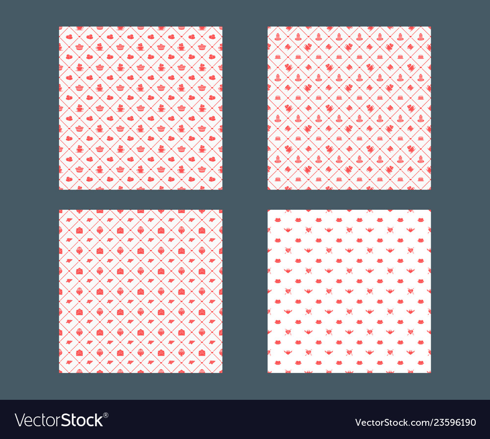 Set of valentines day seamless patterns texture