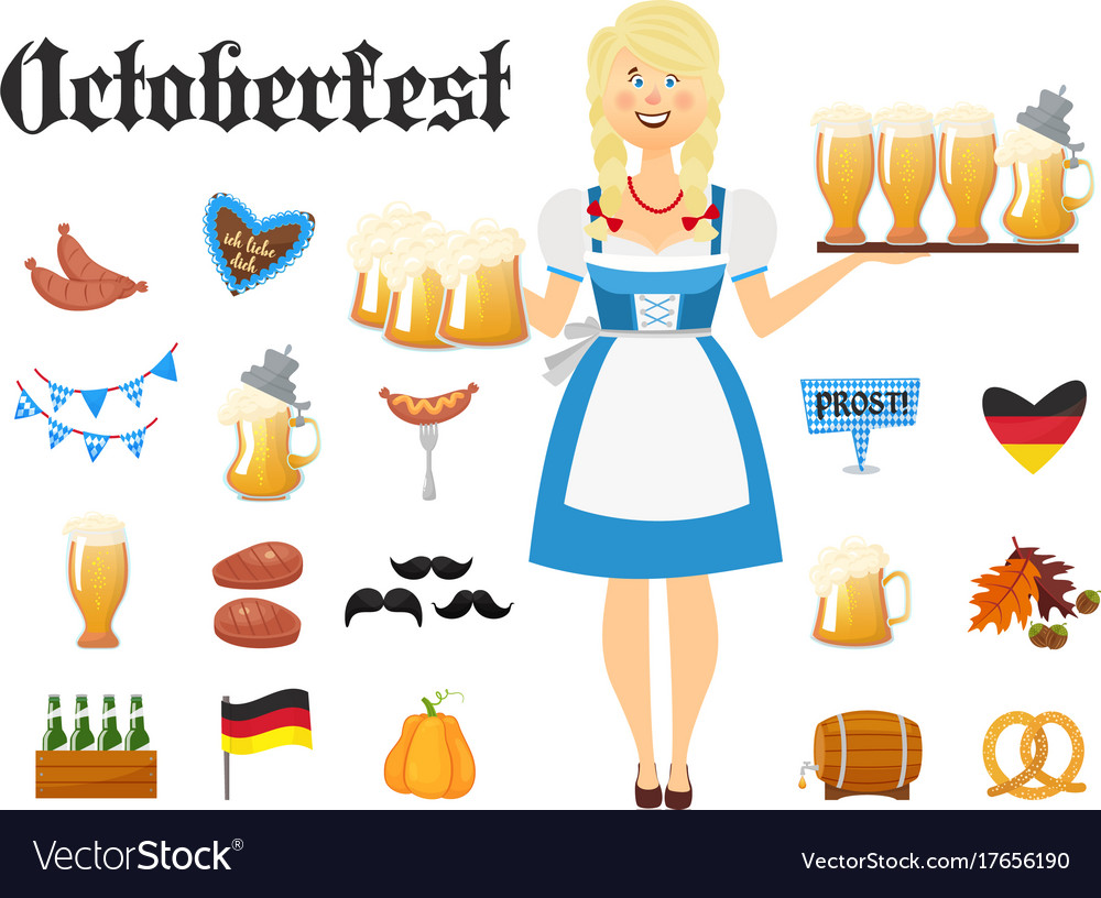 Smiling bavarian woman blonde dressed in vector image