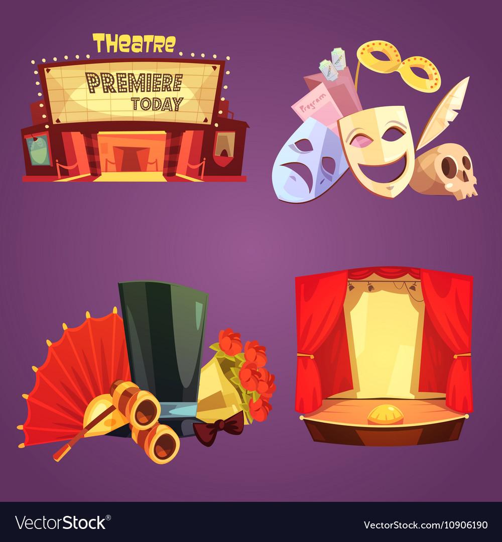Theatre Retro Cartoon 2x2 Icons Set vector image