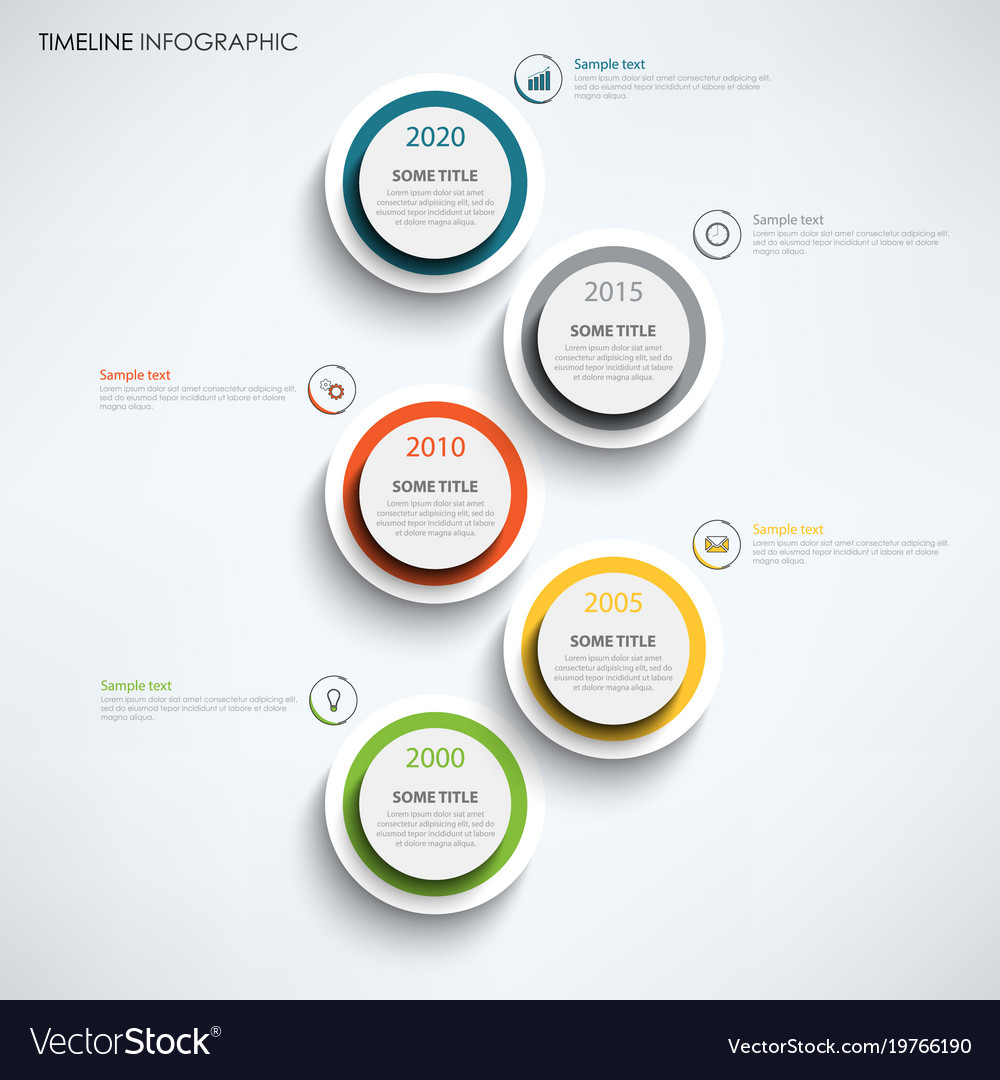 Time line info graphic with large design color