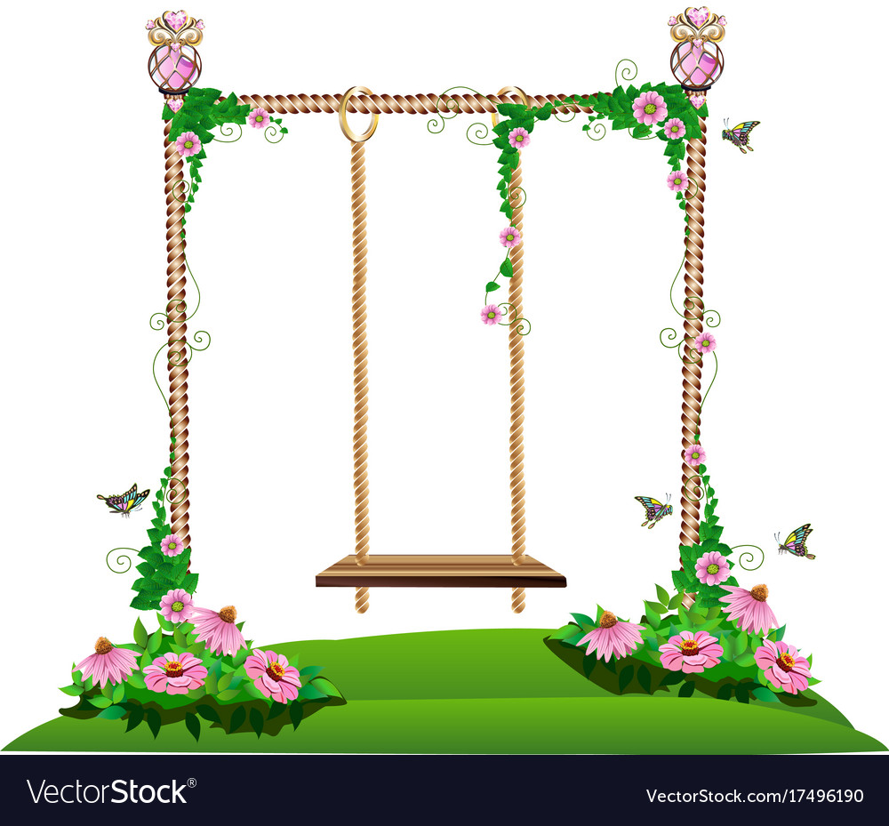 white swing background on rope art stock wooden hanging with vector photo