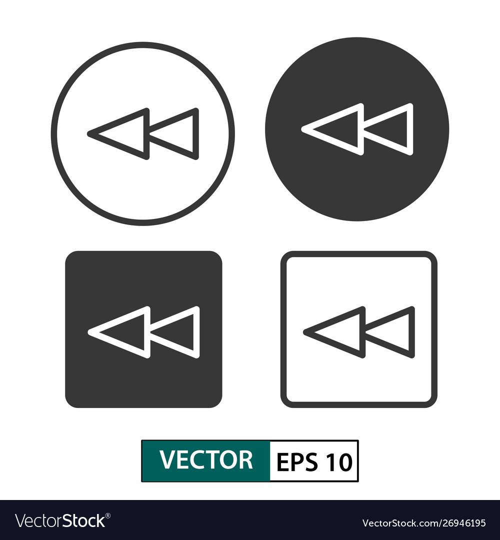 Backward button icon set isolated on white eps 10