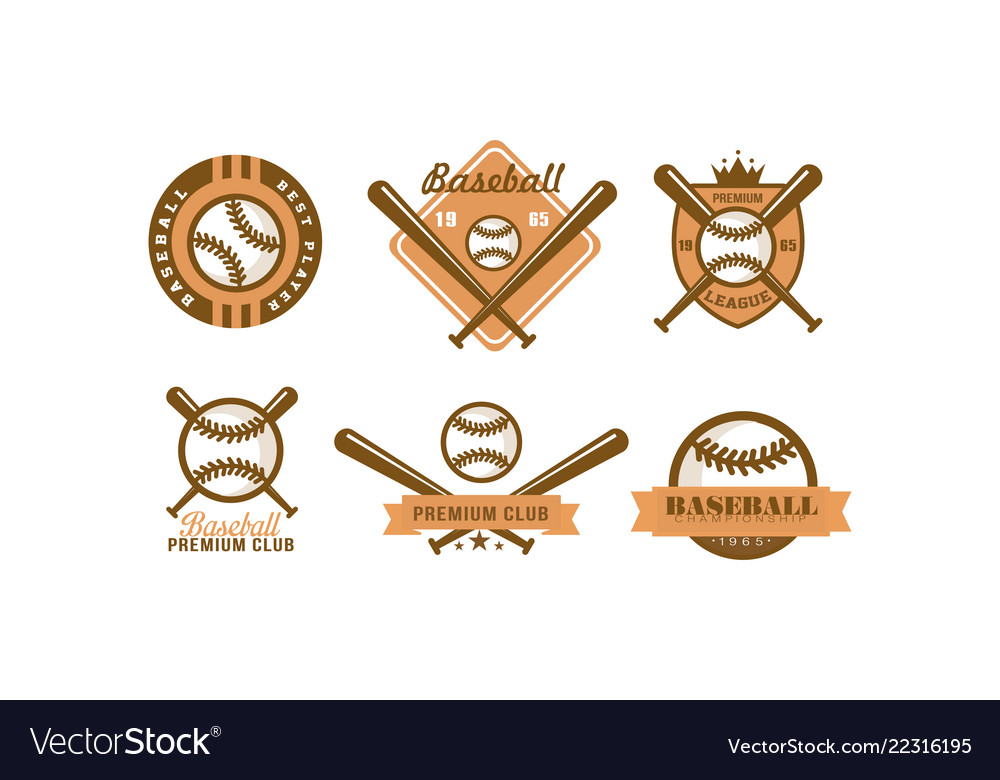Baseball logo set retro emblem for baseball club