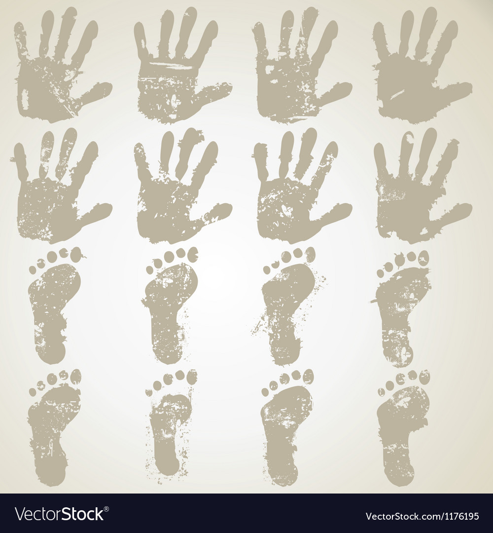 Collection hands and feet prints