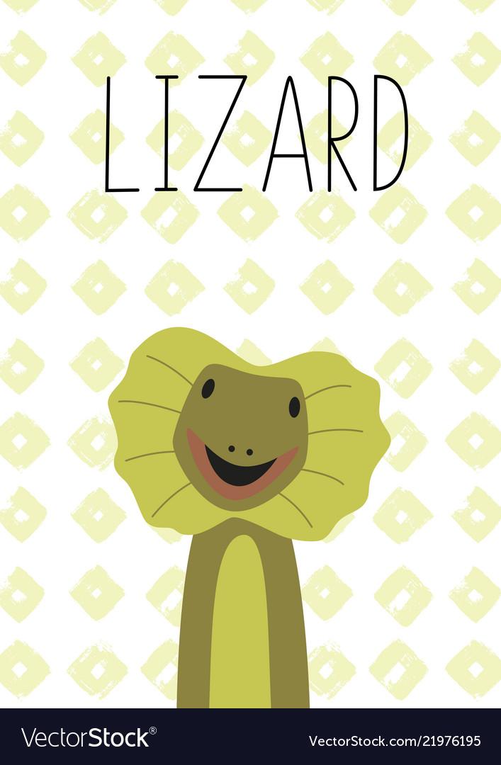 Cute lizard cartoon poster