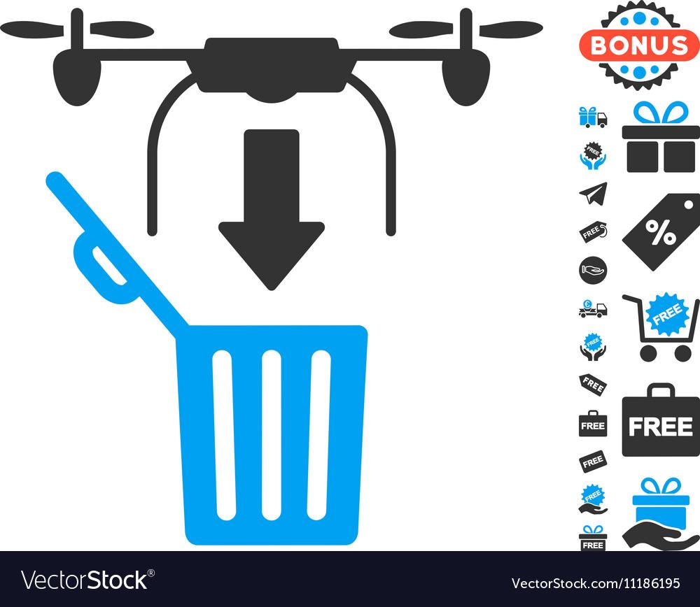 Drone Drop Trash Icon With Free Bonus