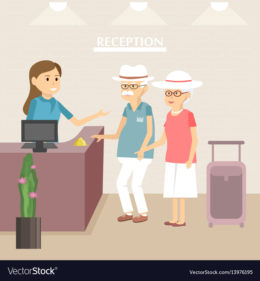 Elderly tourists at hotel reception
