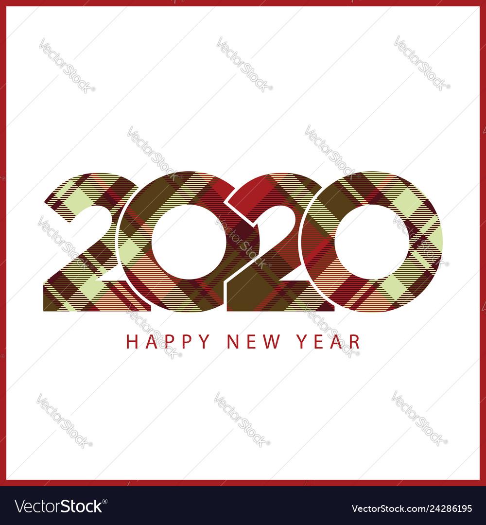 Happy new year 2020 check plaid pattern design