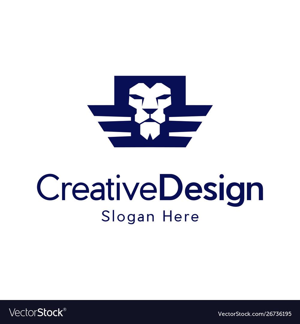 Head Lion Wings Freedom Creative Logo Design