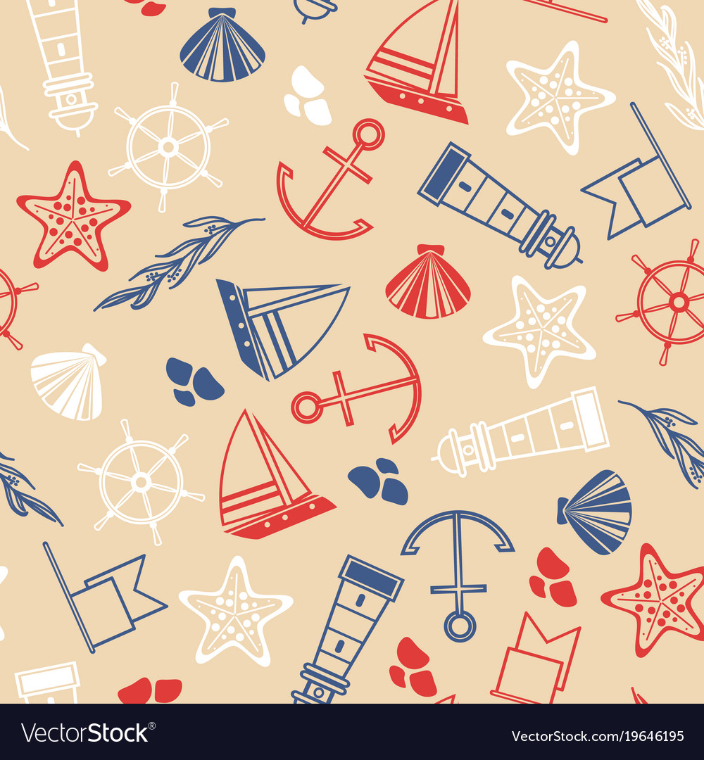 Maritime hand drawn seamless pattern